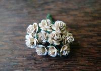 Рози, копринено-бежови, 10мм