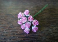 Разтворени пъпки на роза, розово-бели, 10бр.