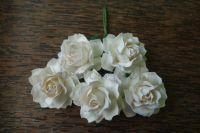 Къдрави рози, бели, 30мм
