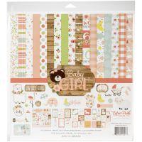 """Дизайнерски комплект хартии """"Бебе - момиче"""", 30.5см, Echo Park"""