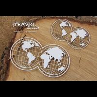 """Дизайнерски комплект от бирен картон """"Пътешествие - карта на света"""", Scrapiniec"""