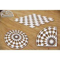 """Дизайнерски комплект от бирен картон """"В страната на чудесата - шахматна дъска"""", Scrapiniec"""