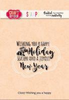 "Прозрачен печат ""Wishing you a happy Holiday"", Craft&YouDesign"