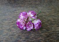 Пухкави рози от мълбери хартия, пурпурно-бели, 30мм