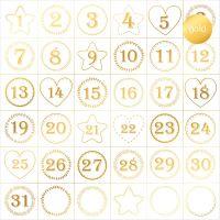 """Дизайнерски ацетатен лист """"Адвент календар-златист"""", Kora Projects"""