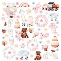 """Дизайнерски лист с елементи за изрязване """"Бебешки играчки"""" -8 - 30.5см, Craft&You Design"""