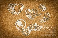 "Дизайнерски комплект от бирен картон ""Hearts with cogs"", Laserowe Love"