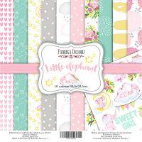 "Комплект дизайнерски хартии ""Little elephant"", 30см, Fabrika Decoru"