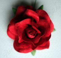 Червена роза от мълбери хартия,50 мм