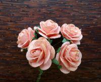 Рози от мълбери хартия, цвят праскова, 20mm