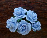 Рози от мълбери хартия, цвят син, 20mm