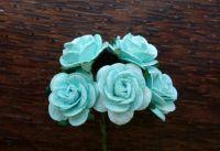 Рози от мълбери хартия, цвят мента, 20mm