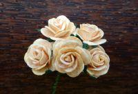 Рози от мълбери хартия, цвят св.оранжеви, 20mm