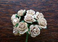 Рози от мълбери хартия, бежови, 15мм