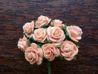Рози от мълбери хартия, цвят праскова, 15мм