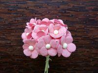 Цветенца от мълбери хартия, розови, 15мм