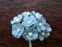 Цветенца от мълбери хартия,   сини, 15мм