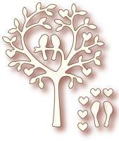 Шаблон за изрязване - Дърво с влюбени птици