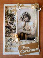"""Винтидж картичка """"В очакване на Дядо Коледа"""""""