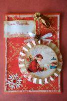 Детска коледна картичка с Дядо Коледа и малко момченце