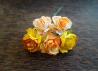 Многолистни рози от хартия, 30 мм,  цвят мандарина.