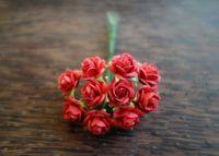 Червени рози от Мълбери хартия, 10 мм.