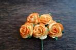 Букет от 5бр. оранжево-жълти рози, 25мм
