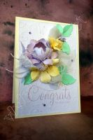 Картичка за сватба в бледолилаво, жълто и мента