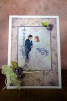 """Изискана сватбена картичка """" Лилави рози"""""""