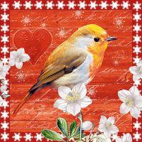 """Салфеткa """"Птица в Коледния ден"""", 1бр."""