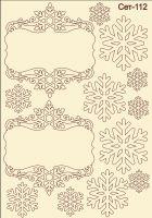 """Елементи от бирен картон """"Рамки и снежинки"""", Сет 112"""