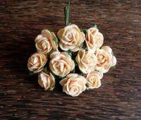Рози от мълбери хартия, цвят пастелно светлооранжево, 15мм