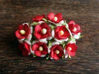 Цветенца от мълбери хартия, червено-бели, 15мм