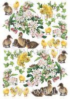 """Декупажна хартия """"Патета, пиленца и цветя"""", PAU74, 35см х 50см"""