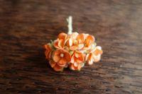 Цветенца от мълбери хартия, оранжев цвят, 15мм