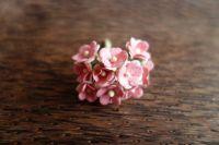 Цветенца от мълбери хартия, розово-бели на цвят, 15мм