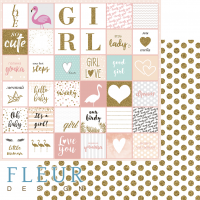 """Дизайнерски лист хартия """"Words"""", 30.5х30.5см, """"Lovely girl"""", Fleur Design"""
