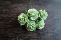 Рози от мълбери хартия, цвят бледозелен, 20mm