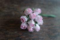 Пъпки на роза, розово-бели, 10бр.