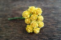 Жълти рози от мълбери хартия, 10мм