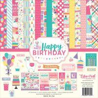 """Дизайнерски комплект хартии """"Честит рожден ден - момиче"""", 30.5см, Echo Park"""
