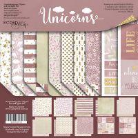 """Комплект дизайнерски хартии """"Unicorns"""", 20см, Scrapmir"""