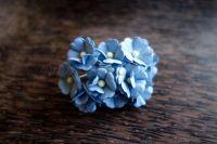 Цветя от мълбери хартия, сини, 10бр., 20мм