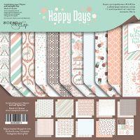 """Комплект дизайнерски хартии """"Happy Days"""", 30.5см, Scrapmir"""