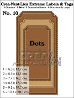 Комплект щанци за изрязване на големи тагове с точки - вариант 10, Crealies