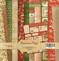 """Комплект дизайнерски хартии """"Christmas Night"""", 20см, Scrapmir"""