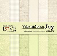 "Дизайнерски комплект хартии ""Beige and green JOY"", 30см, Laserowe Love"